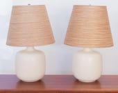 Pair of Lotte Table Lamps with Fiberglass Natural Jute Shades