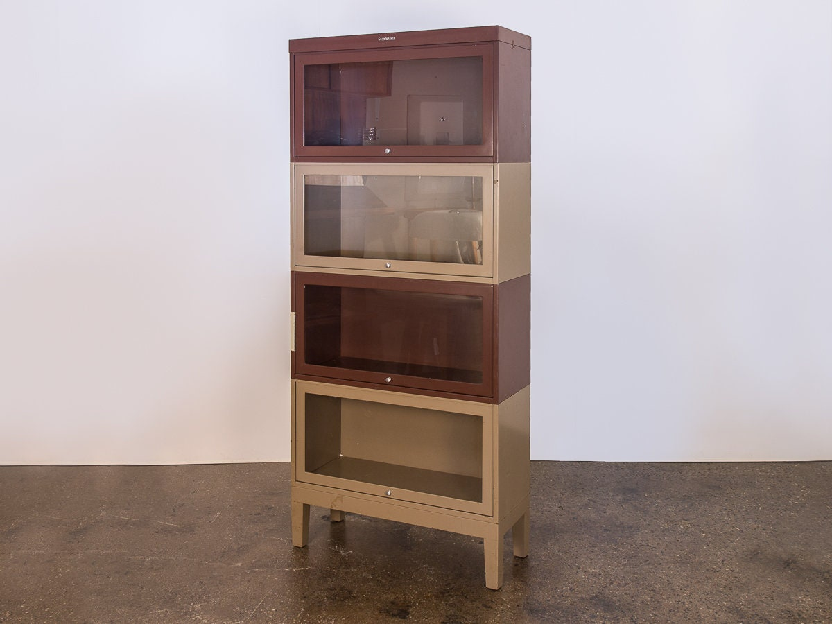 Industrial Modern Two Tone Tall Metal Barrister Bookcases