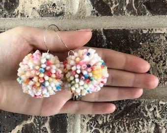 Pom Pom Hoop Earrings in Jawbreaker Mini Size