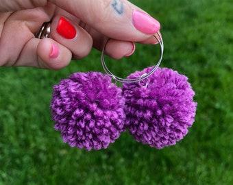 Pom Pom Hoop Earrings in Orchid Mini Size