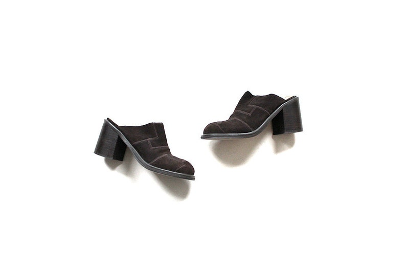 d9feef202f3e7 Vintage Leather Mules 6 / Chunky Suede Leather Mules / Brown Leather Clogs  / 90s Heels