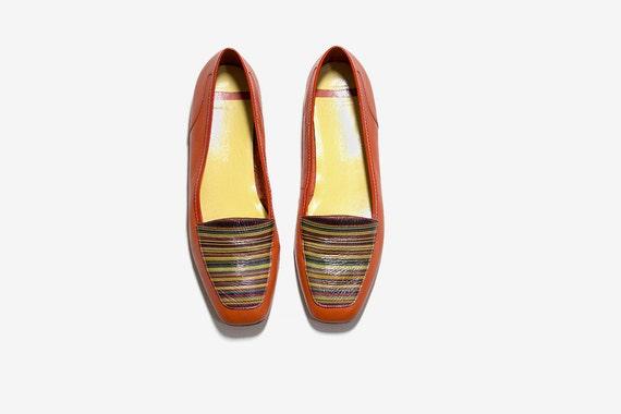 9f79f17c0687 Vintage Leather Loafers 8   Orange Leather Flats   Leather
