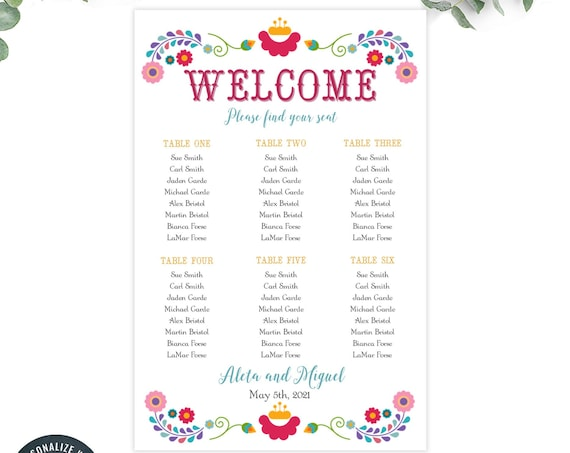 editable seating chart /  custom seating chart template for wedding / fiesta seating chart / INSTANT DOWNLOAD / Printable, Editable Template