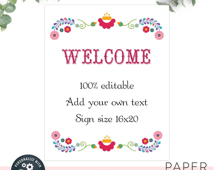 Custom Fiesta Wedding or shower sign / editable fiesta sign / INSTANT DOWNLOAD / 16x20 sign Printable, Editable Template