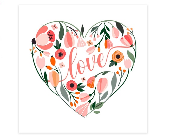 floral heart valentine's card / anniversary card / heart valentine / greeting card