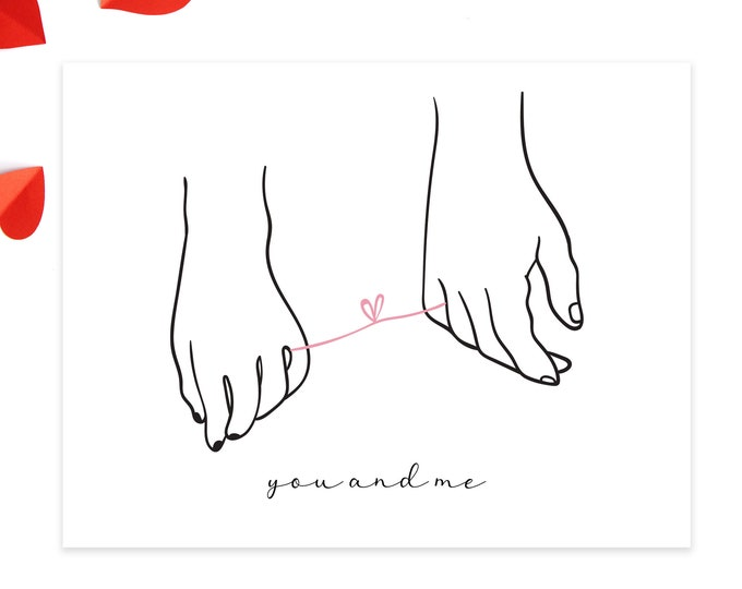 you and me valentines day card / anniversary card / minimal valentine / modern love card