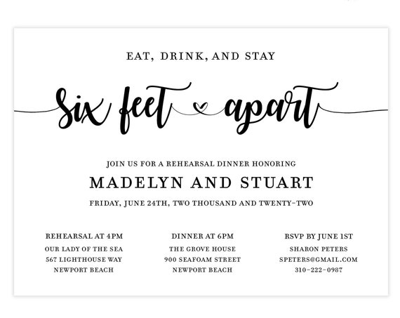 eat, drink and stay six feet apart rehearsal dinner invitations    minimalist wedding rehearsal invite template   modern wedding invite