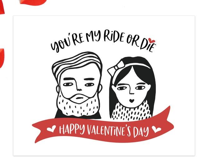 valentines card ride or die /  valentine for him / valentine for her / happy valentine's day cards