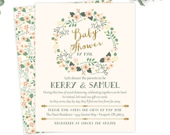 floral baby showery mail invitations, girl baby shower, printable digital file or printed invites