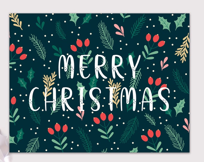floral christmas cards / greenery holiday card / merry christmas cards / 8 pack card set