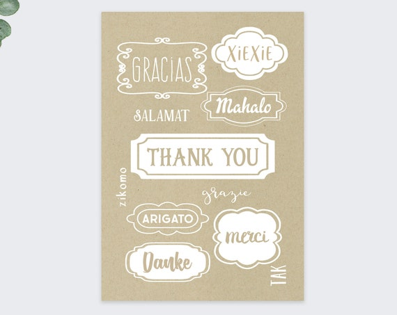 whimsical thank you cards / multi language thank you cards / 10 pack set