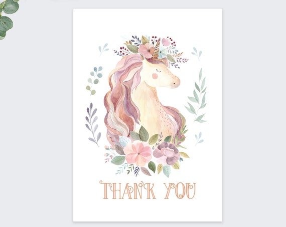 unicorn thank you cards / birthday thank you cards  / cute notecards / 10 pack set