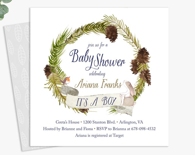 winter baby shower invitations / baby boy woodland shower invites / gender neutral baby shower / digital file or printed invitations