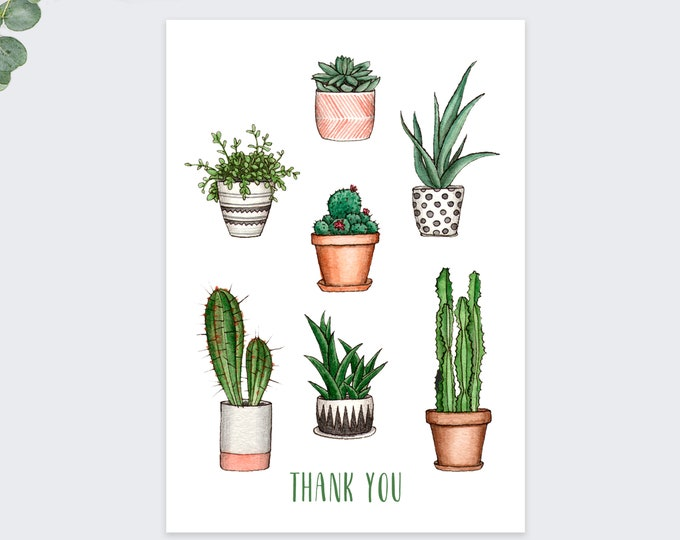 cute succulents thank you cards / plant thank you card set / thank you notecards / 10 pack set