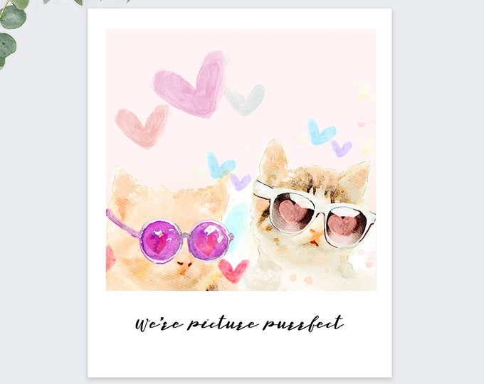 we're purrfect together valentine card / cute cat love card / anniversary card / polaroid style card