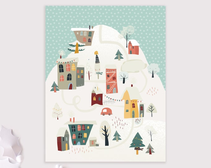 winter village holiday card / Christmas card pack / 8 card set