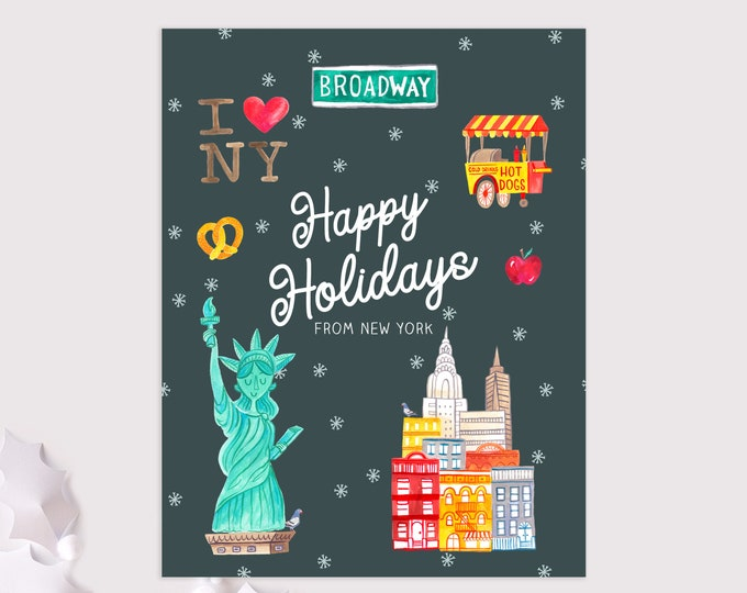 New York holiday cards / NYC christmas cards / 8 pack card set