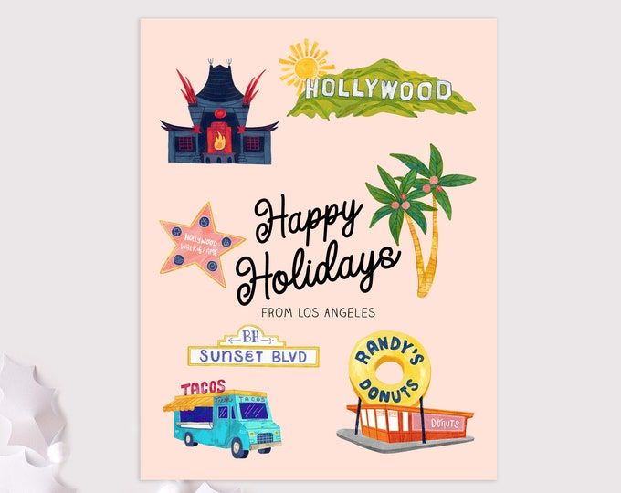 Los Angeles holiday cards / LA christmas cards / 8 pack card set
