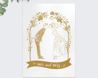 wedding greeting cards / mr. and mrs. card / congratulations /