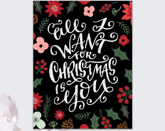 Christmas card for her / Christmas card for him / all I want for Christmas is You / romantic holiday card