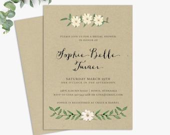 kraft bridal shower invitations, rustic bridal shower invite, printable template, printed invites, digital file