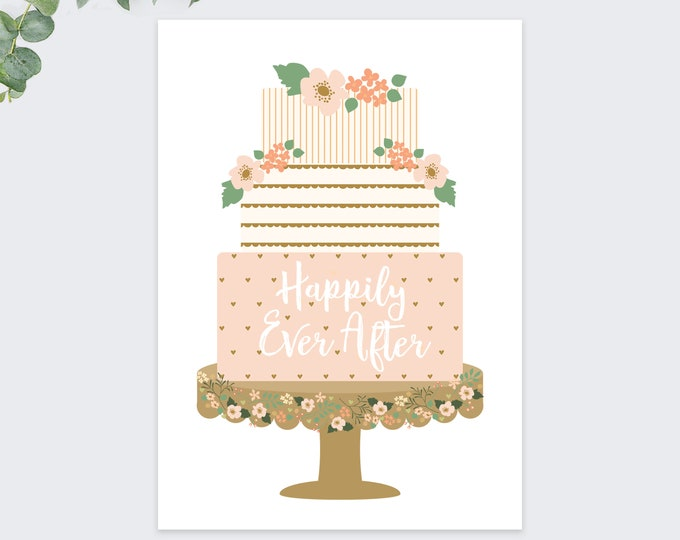 wedding cake greeting card / congratulations / marriage cards / happily ever after