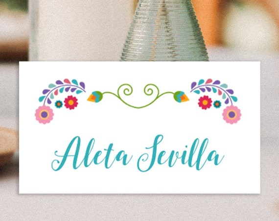 Fiesta place cards / editable name cards / wedding place cards / fiesta party supplies / instant digital file, editable invite