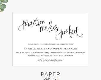 practice makes perfect rehearsal dinner invitations, minimalist wedding rehearsal invite template, digital file, printed invites