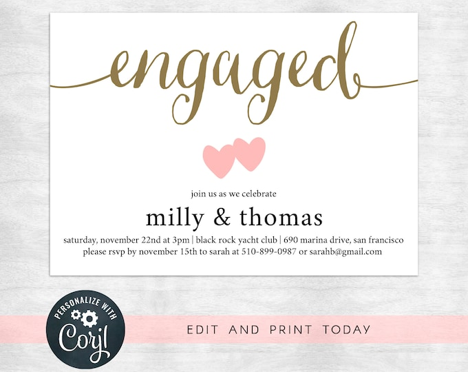 printable engagement party invitations / printable invitation template / instant download