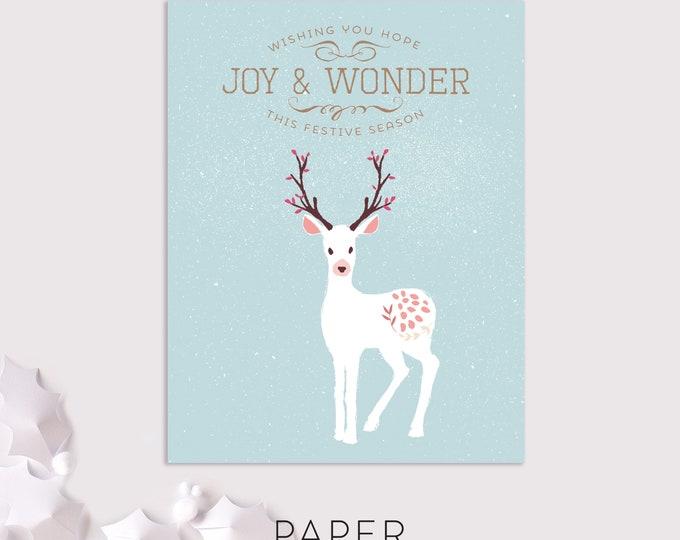 joy and wonder deer holiday cards / woodland christmas cards / 8 pack card set