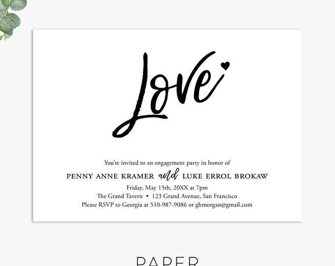 simple love engagement shower invitations, couples shower invitation, engagement party, wedding shower digital file, printed invites