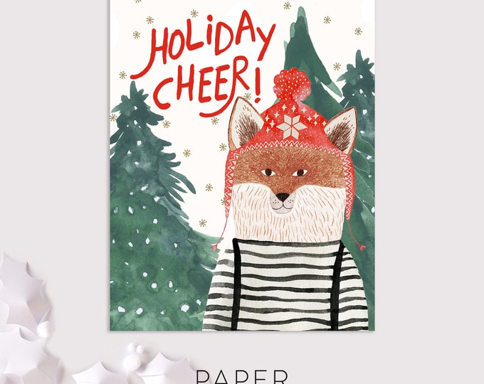 fox christmas cards / holiday cheer / woodland greeting cards / 8 pack card set