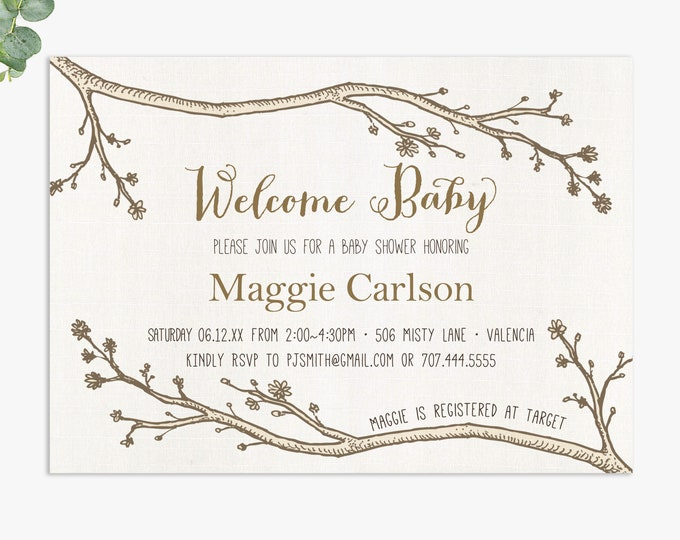 woodland baby shower invitation / rustic baby shower invites / gender neutral baby shower / digital file or printed invitations