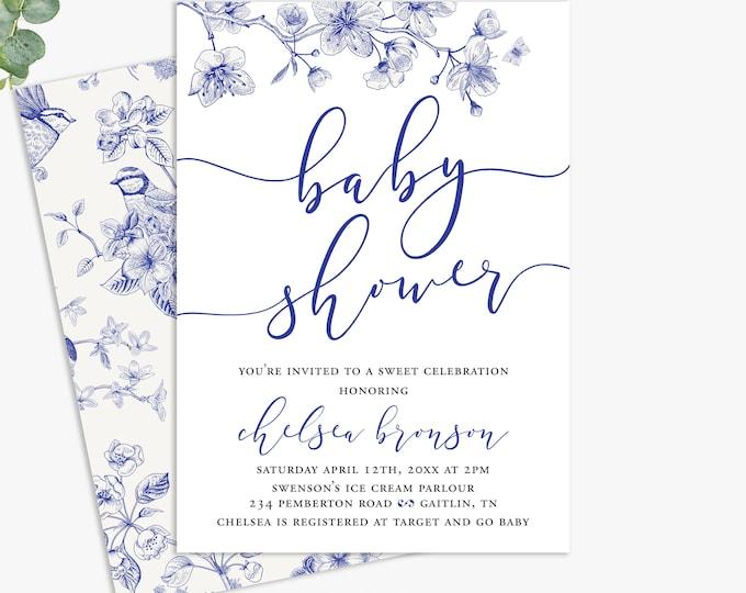 elegant baby shower invitations, lux baby shower invites, printable digital template or printed invites