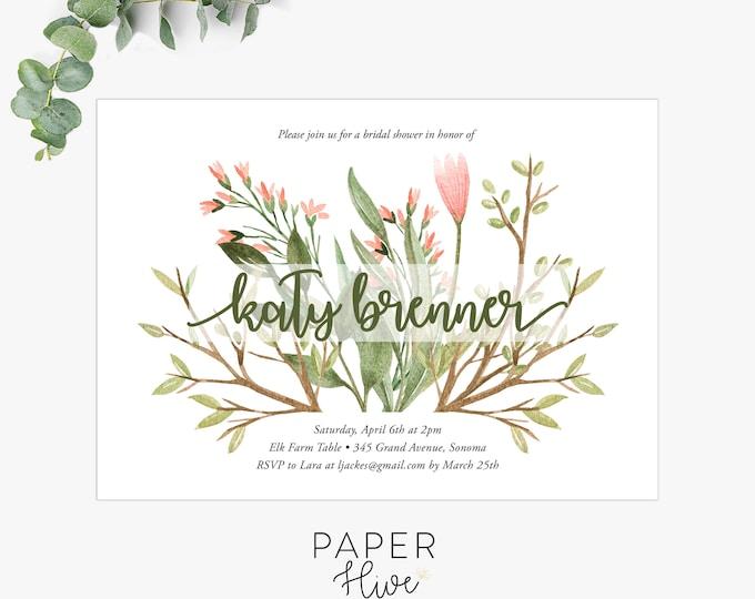 greenery bridal shower invitations, modern shower invite, floral shower invitation template