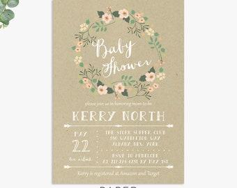 kraft baby shower invitations, rustic  baby shower invite for girl, printable digital template or printed invites