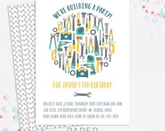 tool birthday party invitations, boy birthday party invites, printable template, printed invites, digital file