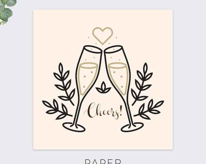 cheers wedding greeting card / wedding congratulations cards / marriage greeting / modern greeting