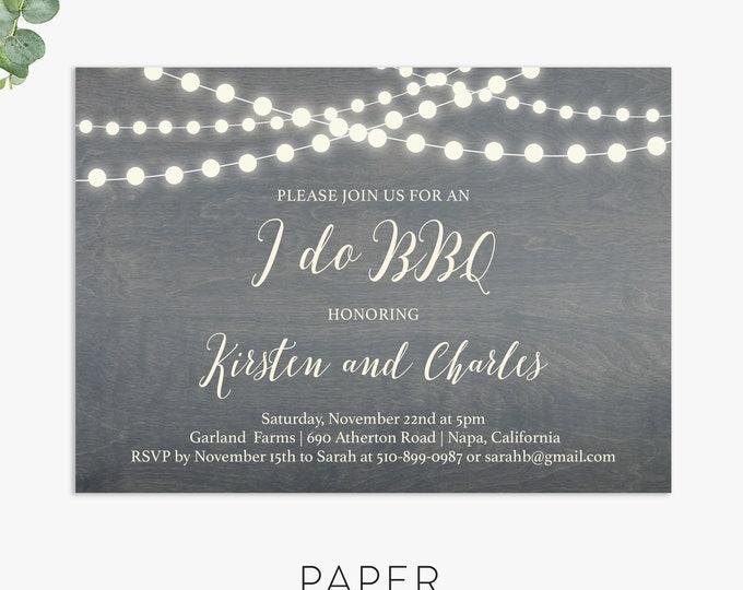 I do BBQ rehearsal dinner invitation, wedding bbq invite template digital file, printed invites