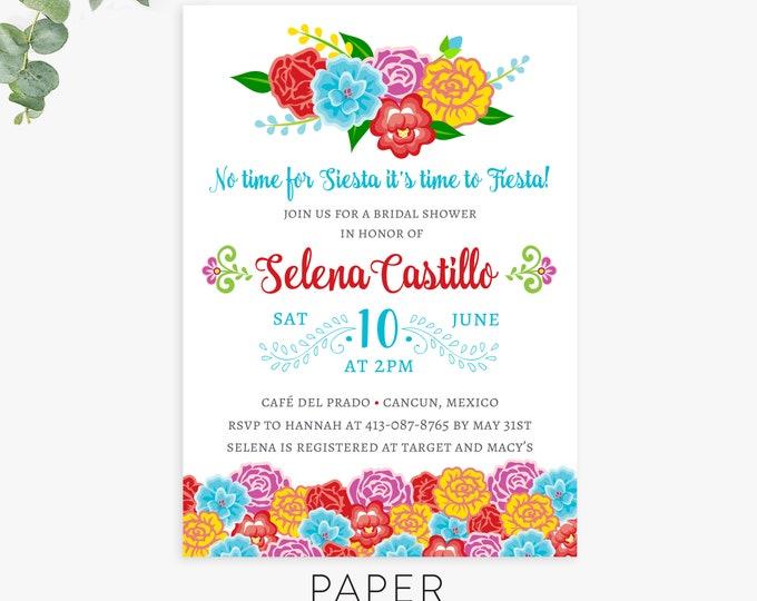 Fiesta shower invitation, bridal shower, baby shower, wedding shower invite template, printed invites, digital printable file