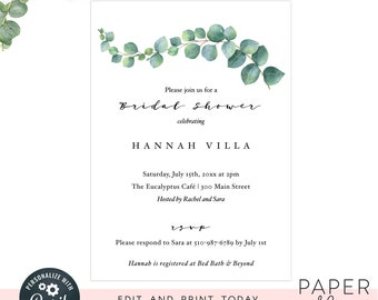 Minimal bridal shower invitations  / greenery editable invitation template / instant digital file, editable invite
