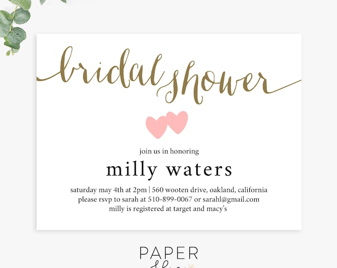 modern bridal shower invitations, simple bridal shower invite, printable template, printed invites, digital file