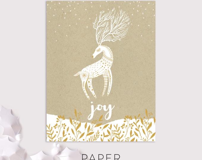 reindeer joy holiday cards / folk art holiday card / boho art christmas card / woodland holiday cards / 8 pack card set
