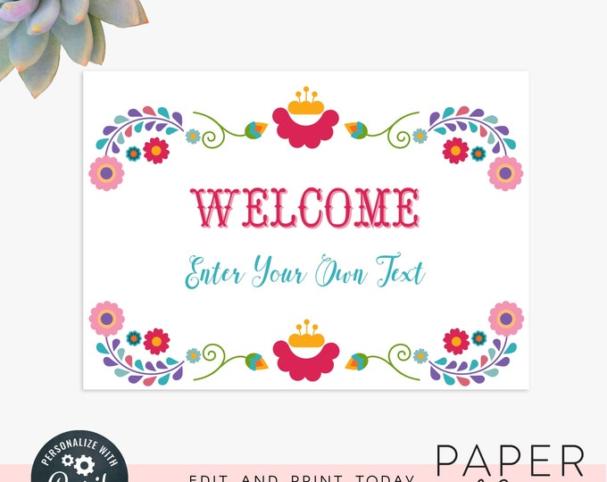 Editable party sign / editable fiesta sign / 5x7 wedding sign /  instant digital file, editable instant download