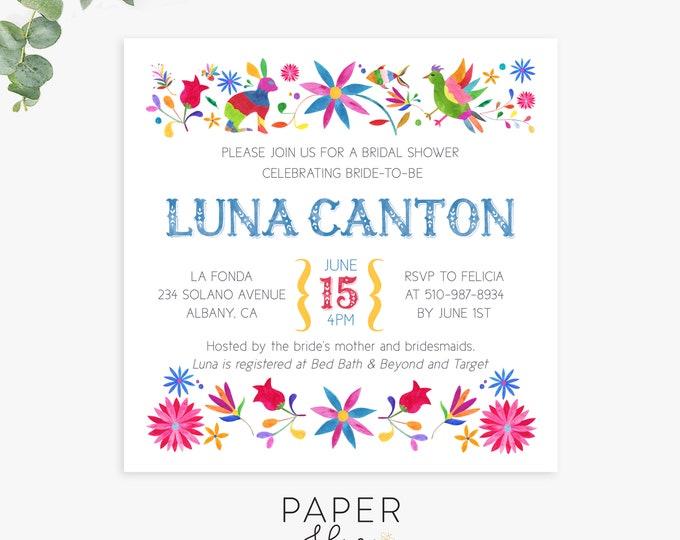 otomi fiesta bridal shower invitations, elegant fiesta shower invites, printable template, printed invites, digital file
