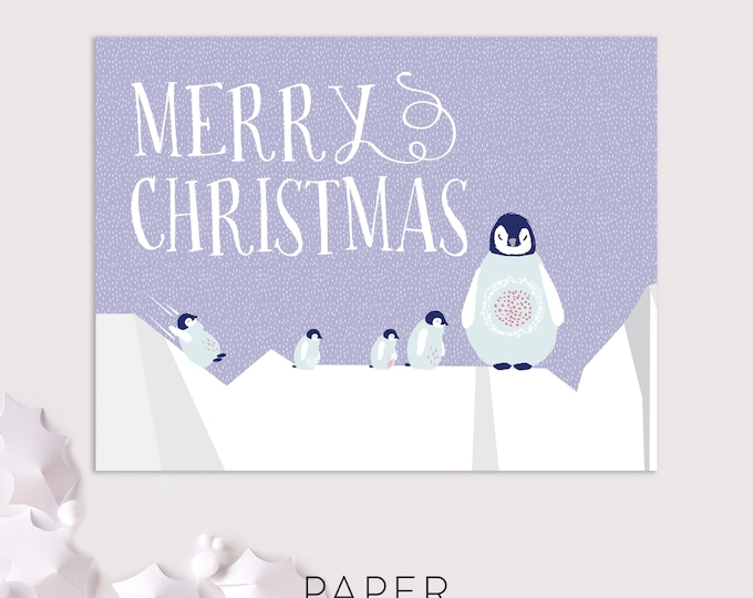 penguin christmas cards / penguin holiday card set / merry christmas 8 pack cards