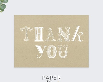 vintage thank you cards / rustic thank you card set /  blank thank you notecards / 10 card set