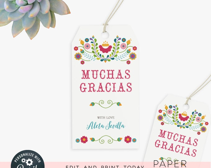 Fiesta gift tags / editable party tags / party bag tags / wedding favor tags / shower favor tags / instant digital file, editable invite