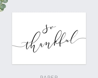 so thankful thank you cards / minimal thank you card set /  calligraphy thank you card / 10 card set
