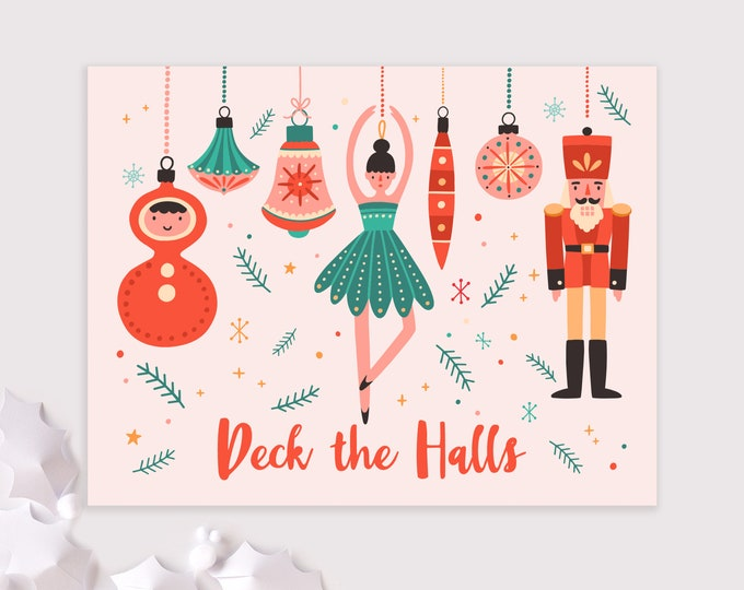 whimsical ornaments holiday card set / deck the halls christmas cards / 8 card set